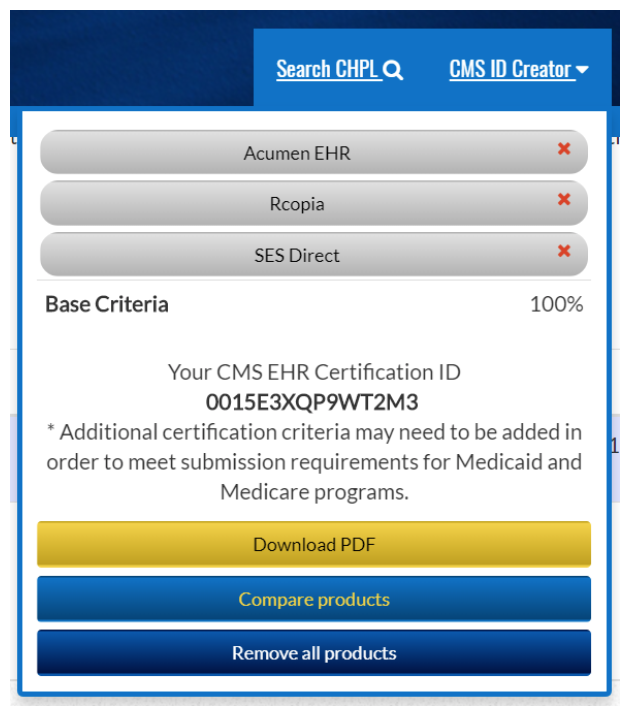 EHR certification ID